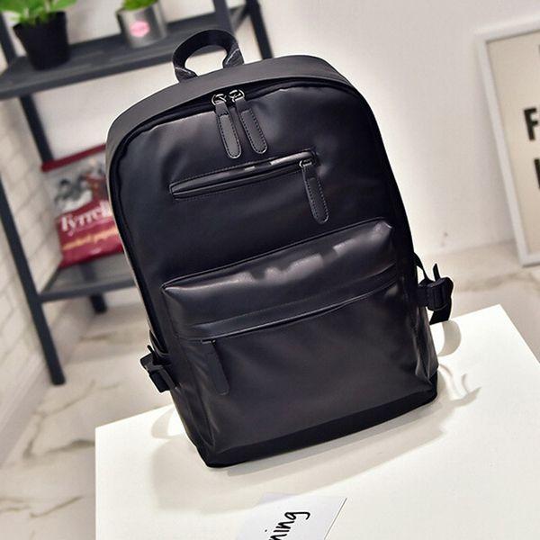 Fashion Unisex Neutral Leather Softback Zipper Solid Bag Laptop Satchel Travel School Rucksack Bag