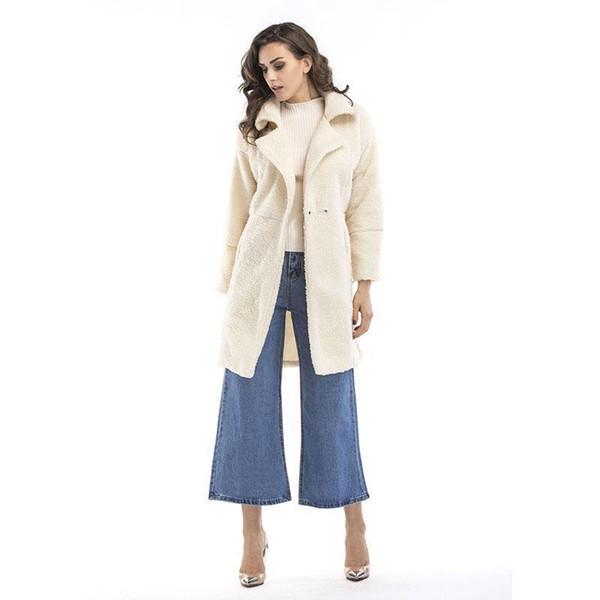 2017 Kış Ceket Kadınlar Cep Yün Karışımı Mont Boy Uzun Siyah Siper Yıpratır Gri Dış Giyim Yün Beyaz Ceket Patchwork kalın