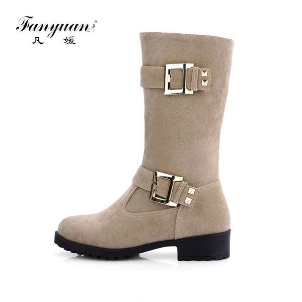 fanyuan Fashion Round Toe Women Mid-Calf Boots Winter Square Heel Boots nubuck Solid Motorcycle boots Buckle Decor Martin Botas