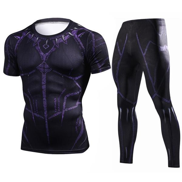 Esportes Run Men Treino Rash guard Kit Manga Curta Camiseta Leggins 2 Peça MMA  Roupas Camisas ef04105077e73