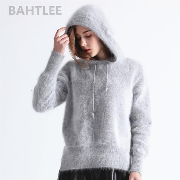 BAHTLEE Inverno Donne angora lavorato a maglia Pullover maglione con cappuccio Maniche lunghe Jumpe tenere al caldo sciolto porcile spessa quattro colorMX190927