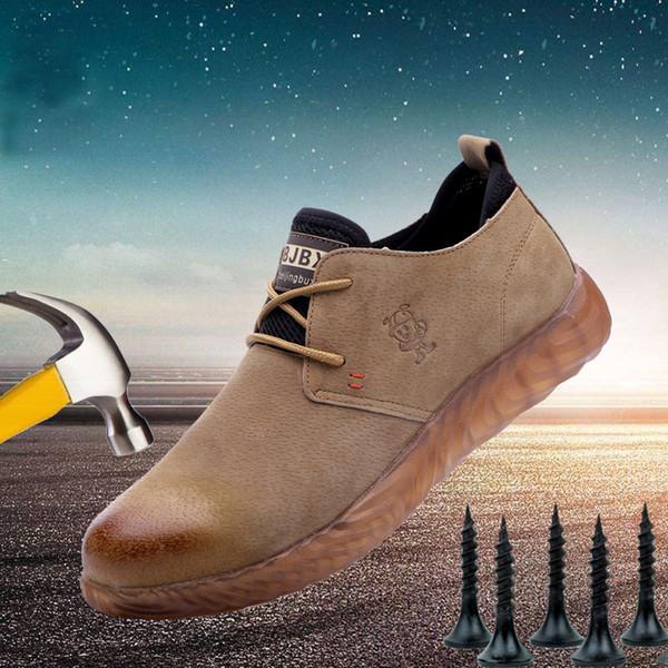 Männer Breathable Kuh Veloursleder mit Stahlkappe Arbeitsstiefel Schuhe Herren Anti-Rutsch-Puncture Proof Sicherheit ShoesMX190907