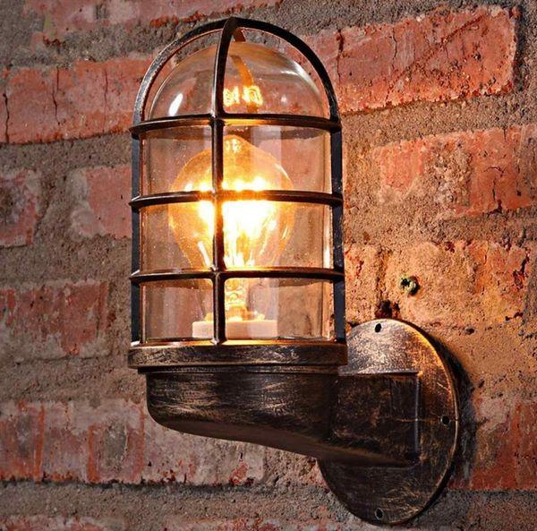 Wall Light Vintage industriale unico Gabbia Guardia Sconce Loft Light Fixture moderna Illuminazione dell'interno Lampade da parete Ferro Rame LLFA