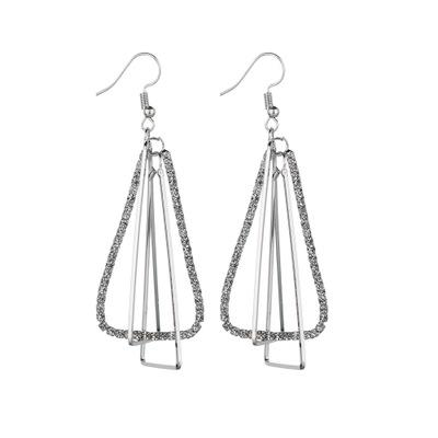 Long Dangle Earrings for Woman Double Layer Drop Earring Full Rhinestone Paved Female Dangle Earrings Female E2565