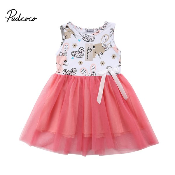 Toddler Baby Girls Tulle Tutu Sundress Easter Cartoon Bunny Dress Party Outfit