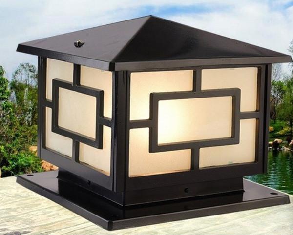Bronzo antico ottone paesaggio giappone nero classico esterno impermeabile porta esterna sulla parte superiore muro post lampada a colonna luminosa LLFA