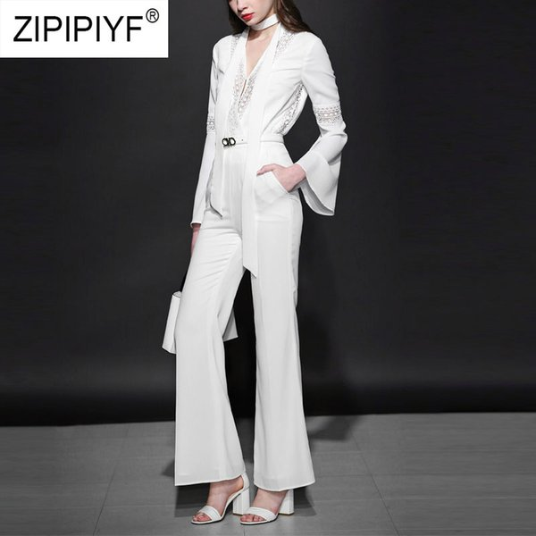 2019 Newest Women Sets Flare Sleeve V-Neck Blouses Bodycon High Waist Long Pants Elegant Fashion Female Two Pieces Suits K635
