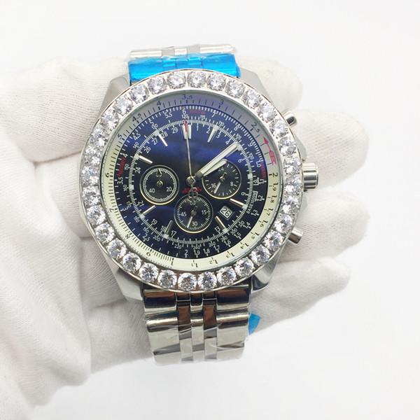 Top Fashion Mens Watch 1884 Big Diamond Bezel Quartz Movement Chronograph Men Watches Stainless Steel Male Wristwatch