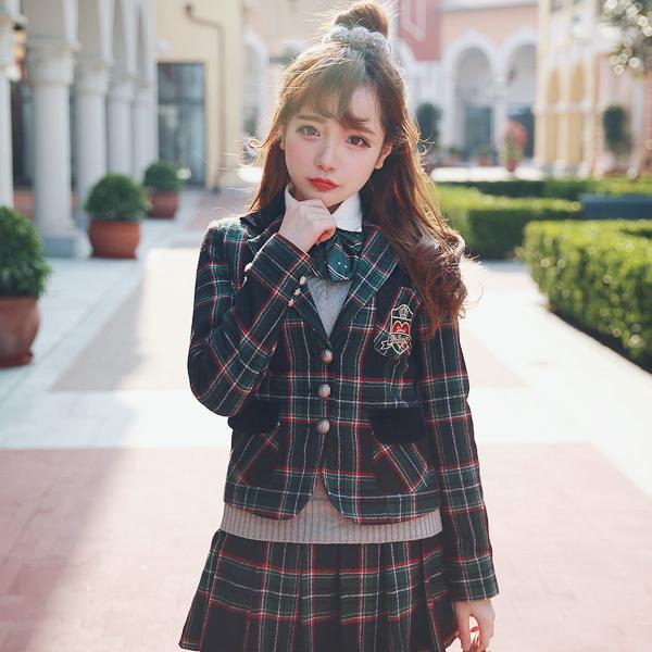 BOBON21 princesse douce lolita manteau institut de design exclusif vent broderie grille britannique uniforme manteau C1341