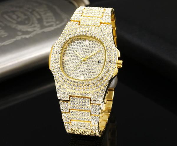 Orologio da polso da uomo in acciaio inossidabile con diamanti e orologio da polso al quarzo da uomo