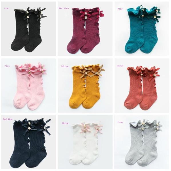 10 цветов Дети бабочки Принцесса Носок девушки бант ребёнки Хлопок Длинный лук носки вязать колено высокие носки Детская одежда 0-8Y