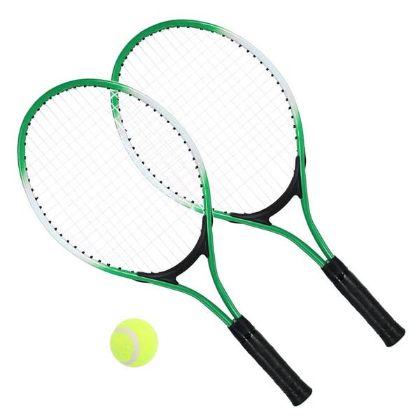 2pcs enfants Tennis Racket cordes Raquettes de tennis avec 1 balle et couverture Sac de sport Fitness bleu Racket