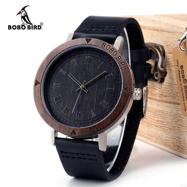 ristwatch mens BOBO BIRD WK05 Mens Watch Rome Number Dial Face Soft Leather Band Japan Quartz 2035 Wristwatch Drop Shipping Accept OEM Re...