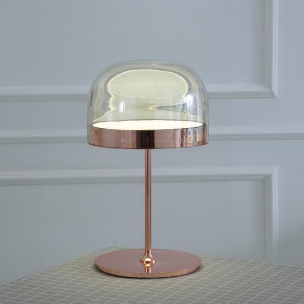 Acquista Moderna Lampada Da Tavolo In Vetro Oro Rosa Equatore ...