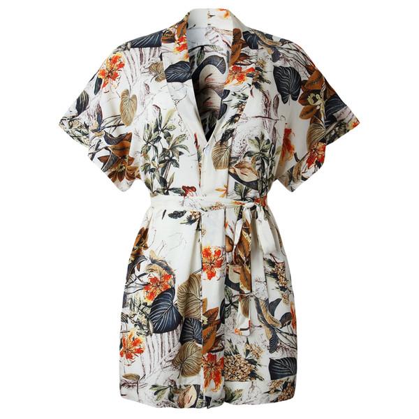 2019 Slim Wrap con cordones de primavera verano Boho el vestido de las mujeres Sexy con cuello en V Estampado floral Señoras Mini Casual Beach Wear túnica