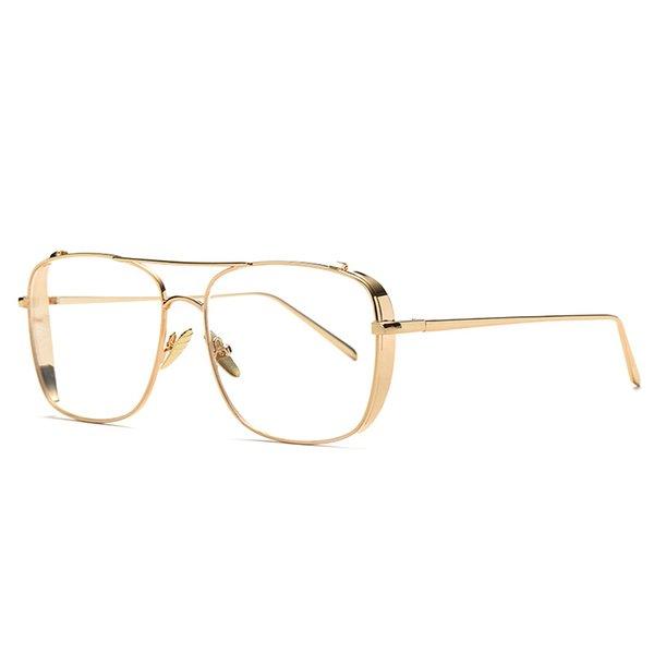 Quadro de Metal de moda Vintage HD Clear Lens Óculos Único Flat Eyewear Quadro Óculos UV400