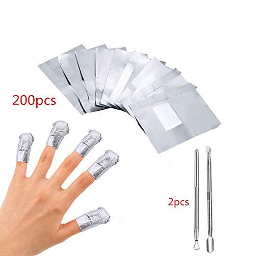 Gel Nail Polish Remover, 200Pcs Soak Off Gel Remover with 1 Piece Cuticle Pusher and 1 Piece Nail Cuticle Cutter Cleaner for Removing Nail P