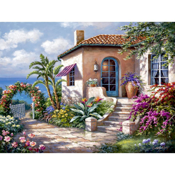 Hand painted Landscapes oil paintings Coastal Cottage View romantic art garden picture for wall decor