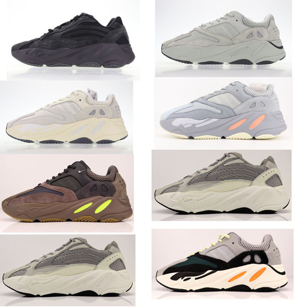 Nuevo Kanye West Wave Runner Malva Inercia Kanye West Diseñador Zapatos impermeables Hombres Mujeres V2 Zapatos estáticos Seankers
