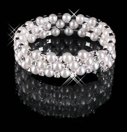 Cheap 3 Row Pearls Stretch Bangle Silver Rhinestones Kids Prom Homecoming Wedding Party Evening Jewelry Bracelet Bridal Accessories