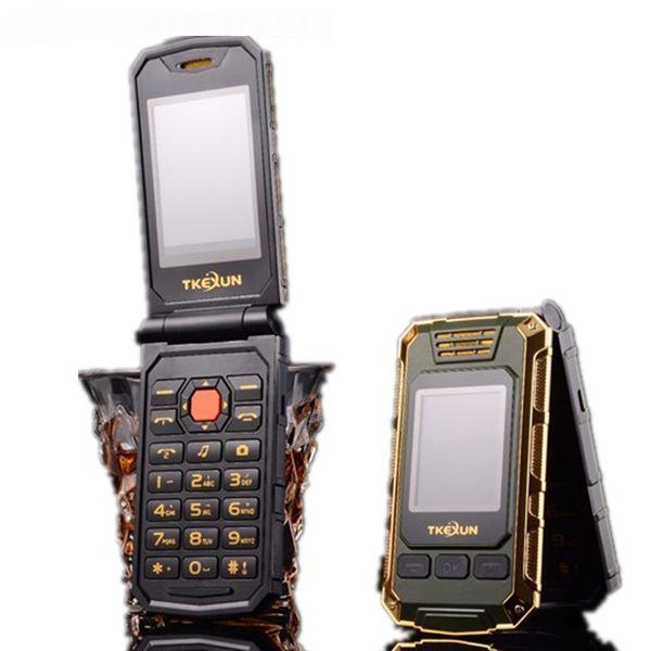 Original TKEXUN G5 Mujeres Flip Teléfono móvil Cámara de doble pantalla doble Tarjeta Bluetooth Dual Sim Pantalla táctil de 2.4 pulgadas Teléfono celular de lujo