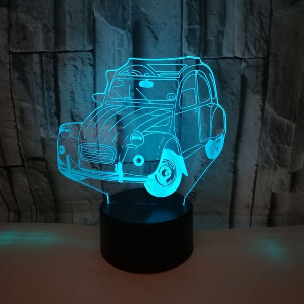 Foreign Trade New Pattern A Car 3d Small Night-light Colorful Discoloration Led 3d Lamp Shenzhen 3d Small Desk Lamp