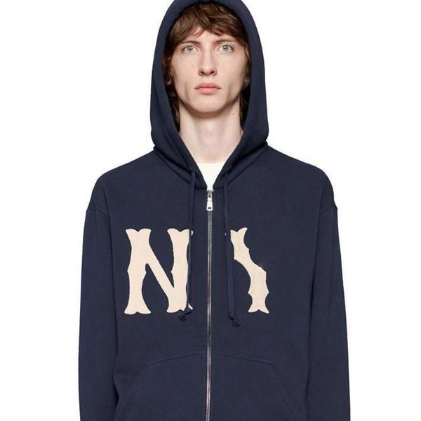 18SS brodé Manteau Fashion Casual capuche manches longues Sweat-shirt décontracté et confortable hommes et les femmes bleu Sweats à capuche Pull HFBYWY193