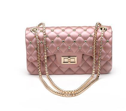 Women Fashion Jelly Bag Summer Style Chains Shoulder Bag Diamond Lattice Flap Purse