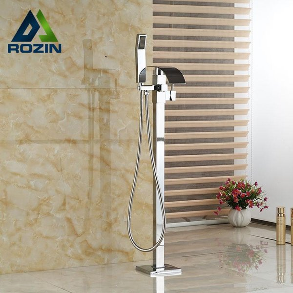 Luxury Bath Tub Sink Faucet Floor Mounted Chrome Waterfall Bathtub Mixers Free Standing Hot and Cold Bath Shower Set Handshower 20181115$