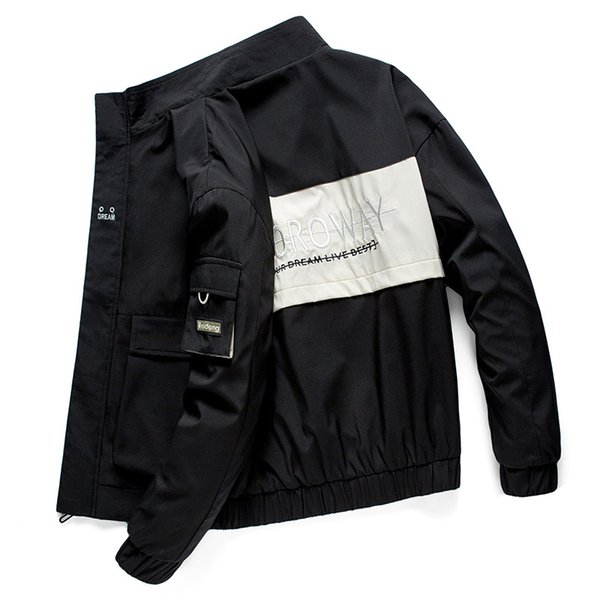 Brand High Quality Long Sleeve 2019 New Designer Mens Fashion Loose Windbreaker and Natural Color for Sport Casual Coats with M-4XL B101304Q