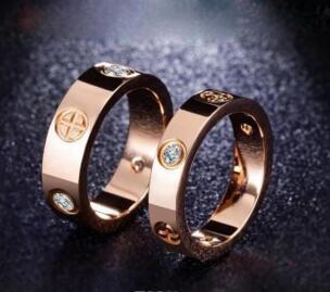 Buona qualità titanio acciaio argento oro rosa amore anello in oro per gli amanti paio di anelli di nozze
