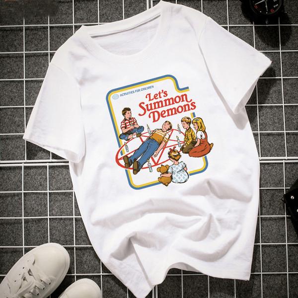 Mode Lustige Vintage 2018 Frauen T-shirt Kurzarm Lassen Sie uns Sommer Dämonen Grafik Tops Harajuku Sommer Tumblr T-shirt Frauen Tops