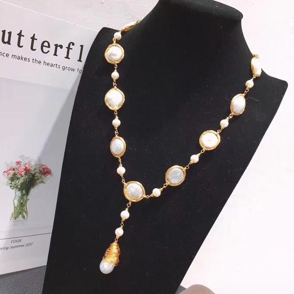 Handmade 14K gold, new baroque pearl sweater chain