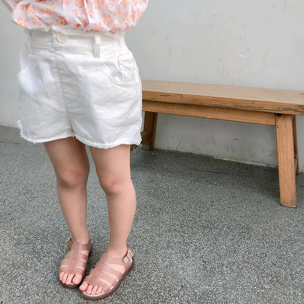 2019 Verano Nueva llegada estilo coreano de algodón color puro del todo-fósforo caliente pantalones cortos con botones para la moda linda dulce bebé niñas