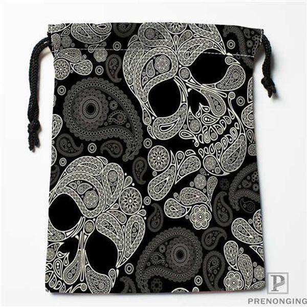 Custom Printing Black Skull (1) Drawstring Shopping Bags Travel Storage Pouch Swim Hiking Toy Bag Unisex Multi Size18-12-31-14