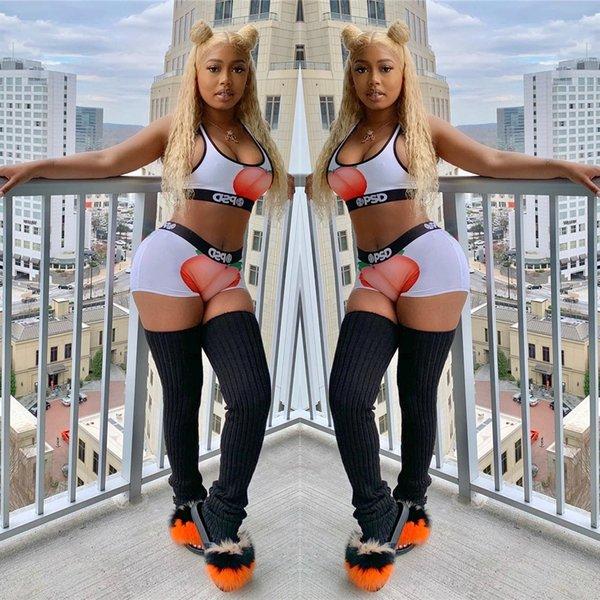 Sexy Diseñador Mujeres Fruta Imprimir 2 unids Pantalones Cortos Trajes de Verano de Color Sólido Trajes Casuales Ropa Casual Ropa de Moda