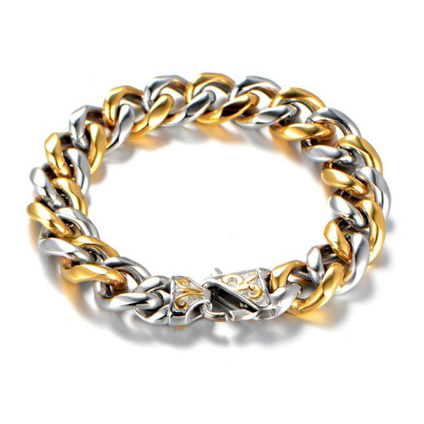 2019 316L Stainless Steel Bracelet Men Jewelry Gold Silver Two Tone Party Fashion Hand Cuban Chain Bracelets For Man