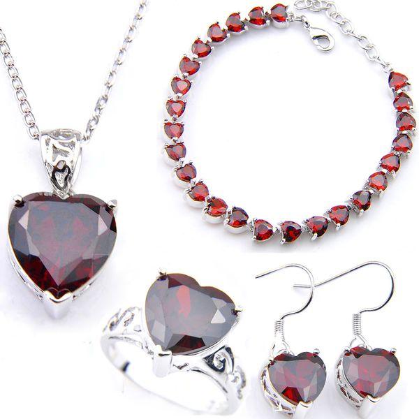 LuckyShine 925 Sliver Heart Cut Red Crystal Zircone Set di gioielli Donna Gioielli Fascino Orecchino Pendenti Anelli Braccialetto Miglior San Valentino Gif