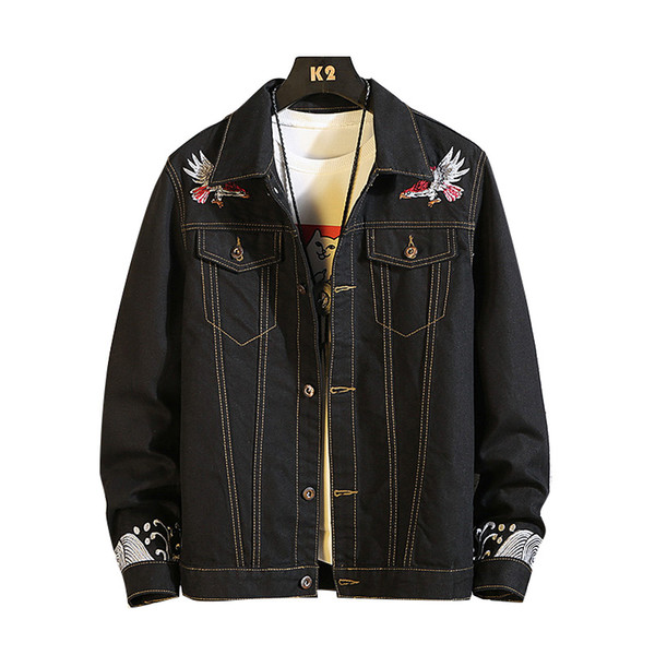 Embroidered Denim Jackets men coat Black Casual Teens Denim Jacket cotton Turn-down Collar Cowboy Bomber jackets Plus Size 4XL