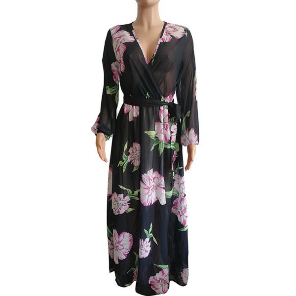 Choix de couleurs complètes en mousseline de soie Robe 2019 col en V longue lanterne à manches longue et longue au sol Robe de plage romantique style Maxi Dress