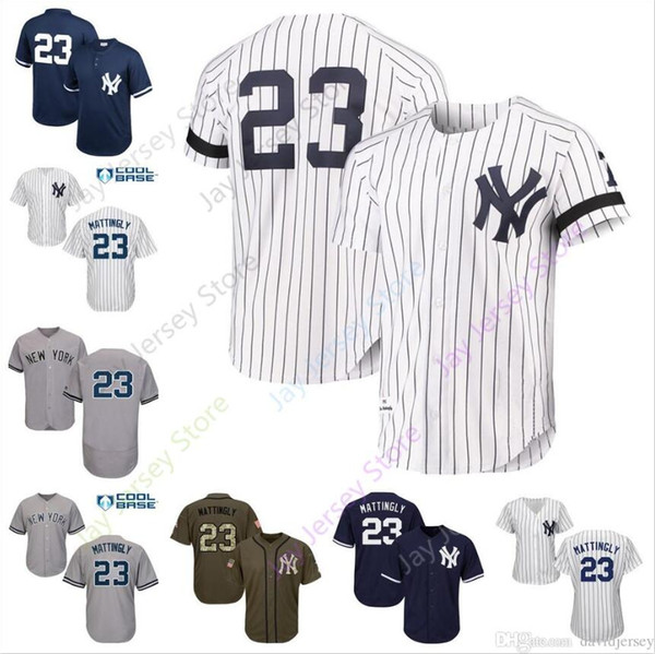 finest selection e4f5a aa62c 2019 Don Mattingly Jersey MN Cool Base Yankees New York Cream White  Pinstripe Grey Black Home Away All Stitched From Davidjersey, $16.26 |  DHgate.Com