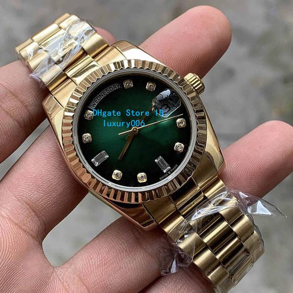2019 Nuevos relojes unisex de venta caliente 36 mm 128235 118235 128238 Día Fecha Presidente 18k Oro rosa Diamante Asiático 2813 Relojes de movimiento automático