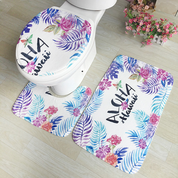 Tappeti da bagno colorati 3 pezzi / set Tappeto Closestool Tappetino WC Tappetino antiscivolo wc Tappetini effetto 3D Tappetino da bagno Home