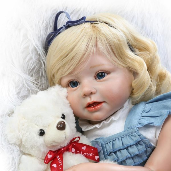 "Soft Silicone Realistic Reborn Toddlers Girls Baby Dolls 28"" (70cm) Babies Kids Toys With Blonde Hair"
