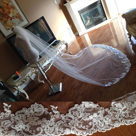 New Best Selling picture One Layer Cathedral Length Lace Applique Edge Custom White Ivory Alloy Comb Wedding Veil Meidingqianna Brand