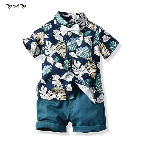 Top And Top Boy Clothing Set Summer Fashion Floral Short Sleeve Bowtie Shirt+shorts Boys Casual Clothes Gentleman 2pcs Suit J190717