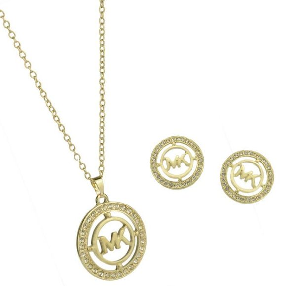 jewelry set M letter pendant necklace earrings full drill women gold round two-piece diamond jewelry set