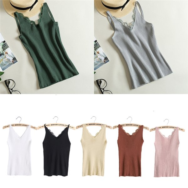 ladies tank  quality good camis women plain camisole lace splicing double v neck vest slim sling tank  woman clothes
