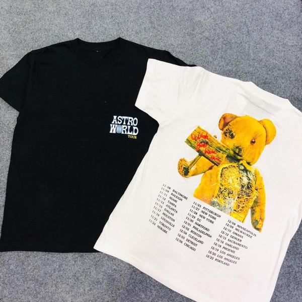 2019 Трэвис Скотт Astroworld Astroworld Bear Печатный Женщины Мужчины футболки Тис Хип-Хоп Уличная Мужская Хлопок футболка