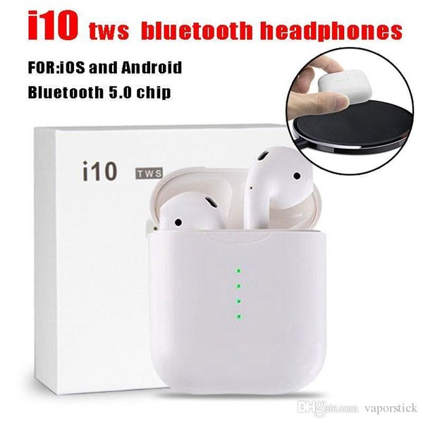 wholesale i10 TWS Twins Wireless Bluetooth headphones Double Earphones Headset Earbuds Mic Stereo V5.0 With Charging Box